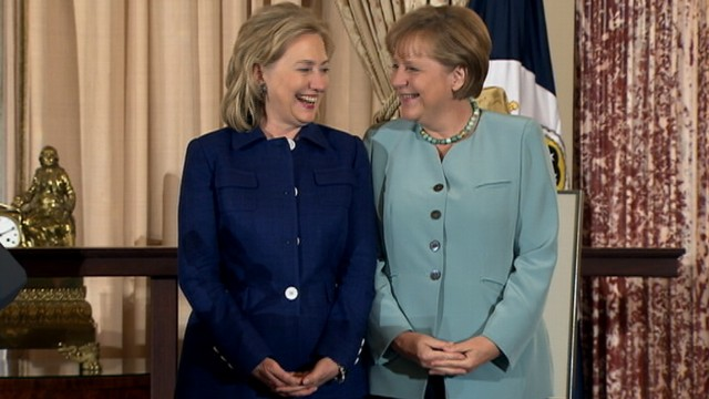 Hillary Clinton and Angela Merkel together