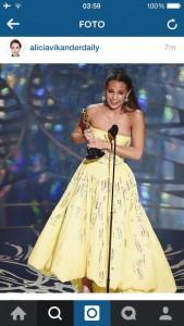 Alicia Vikander - Oscar per Miglior Attrice non protagonista (fonte: Instagram)