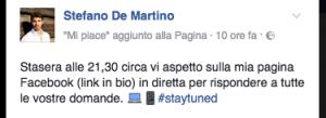 Il post in cui Stefano invita i fans a seguirlo la sera nella sua diretta.