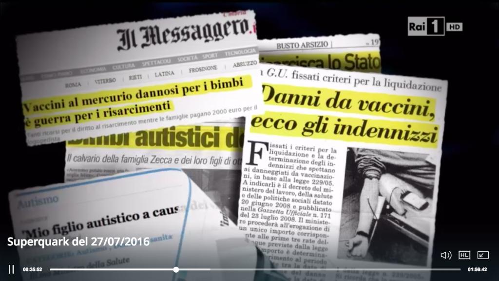 Un fermo immagine della puntata di SuperQuark del 27/07/2016: le bufale sui vaccini alimentate dalla stampa fonte